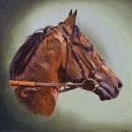racehorse portrait. oil on canvas
