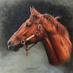 Secretariat oil on panel.