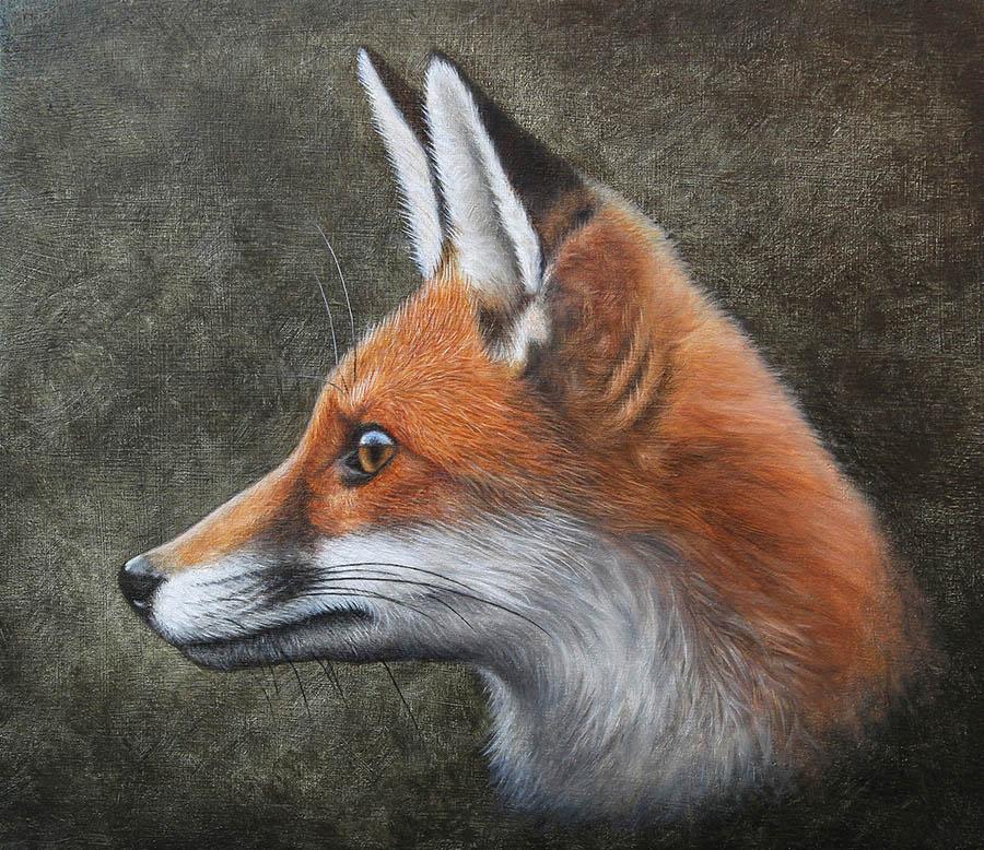Fox. Oil on panel